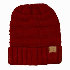 C.C Cuffed Cable Knit Beanie in Burgundy
